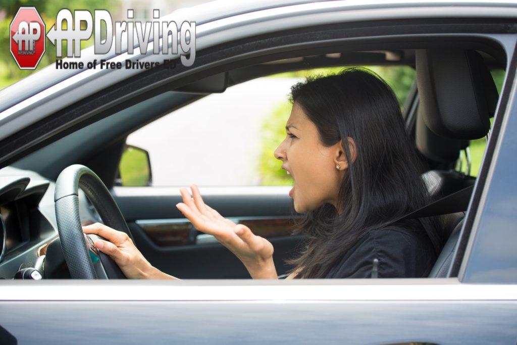 road rage woman driving